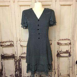 RICKIE FREEMAN TERI JON silk blue dress flowy 4